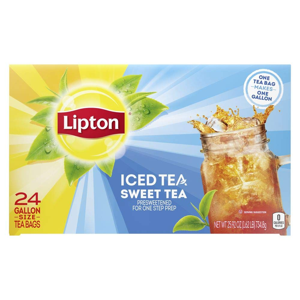 Lipton Sweet Iced Tea Bags Made with Tea Leaves Sourced from Rainforest Alliance Certified Farms, 1 gallon, 2x Pack of 24
