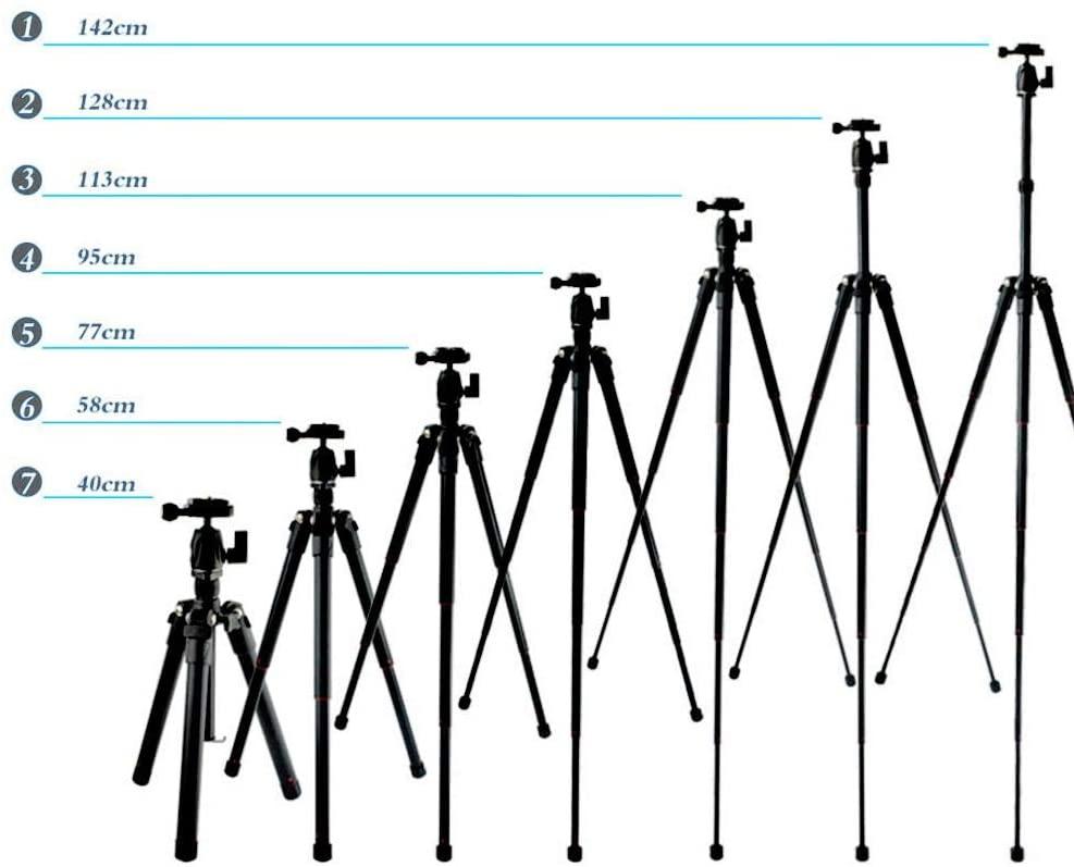 55 inch Aluminum Photography Tripod - Professional Portable Tripod - Detachable Camera Monopod - 8KG Load Capacity - for Digital SLR DSLR Mirrorless Camera