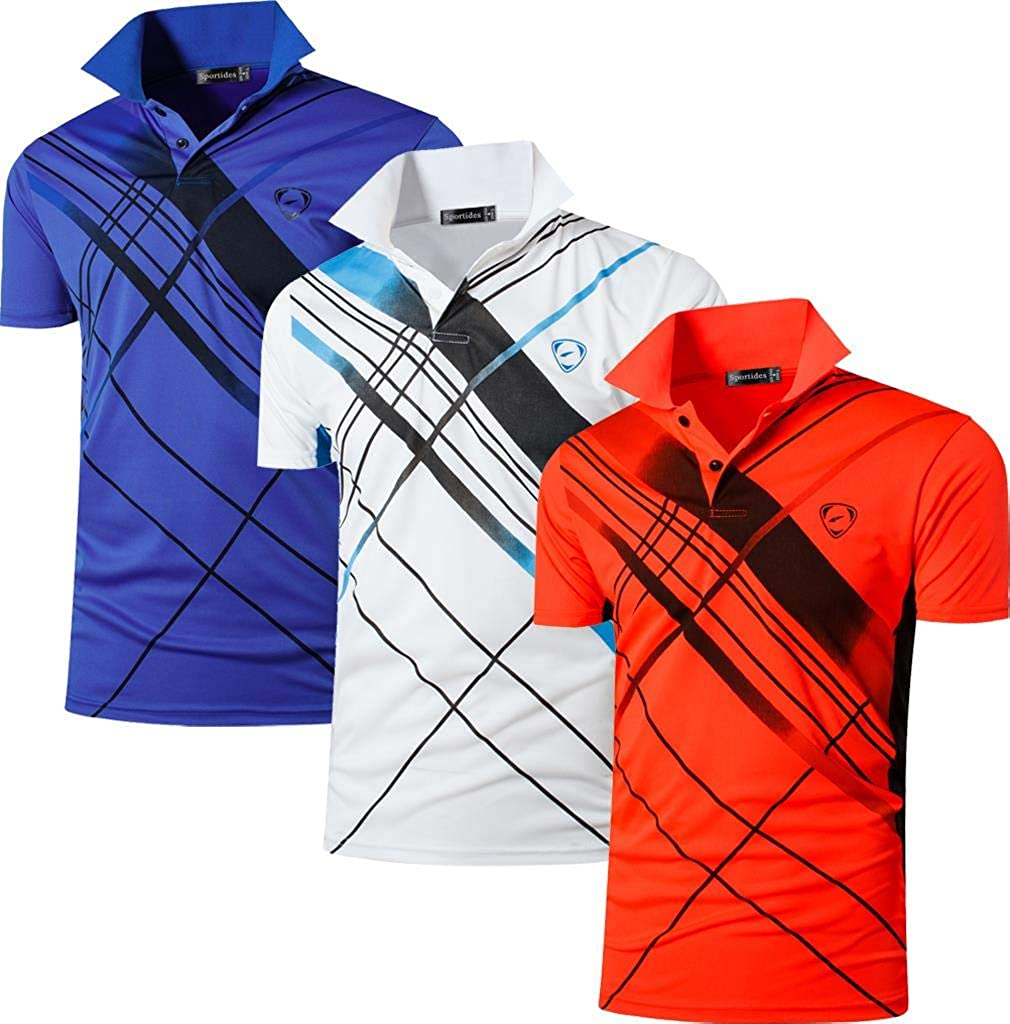 Sportides Boy's 3 Pack Golf Tennis Bowling Badminton Sport Polo Tee Shirt Tshirt T-Shirt Short Sleeve Dry Fit LBS710_Pack