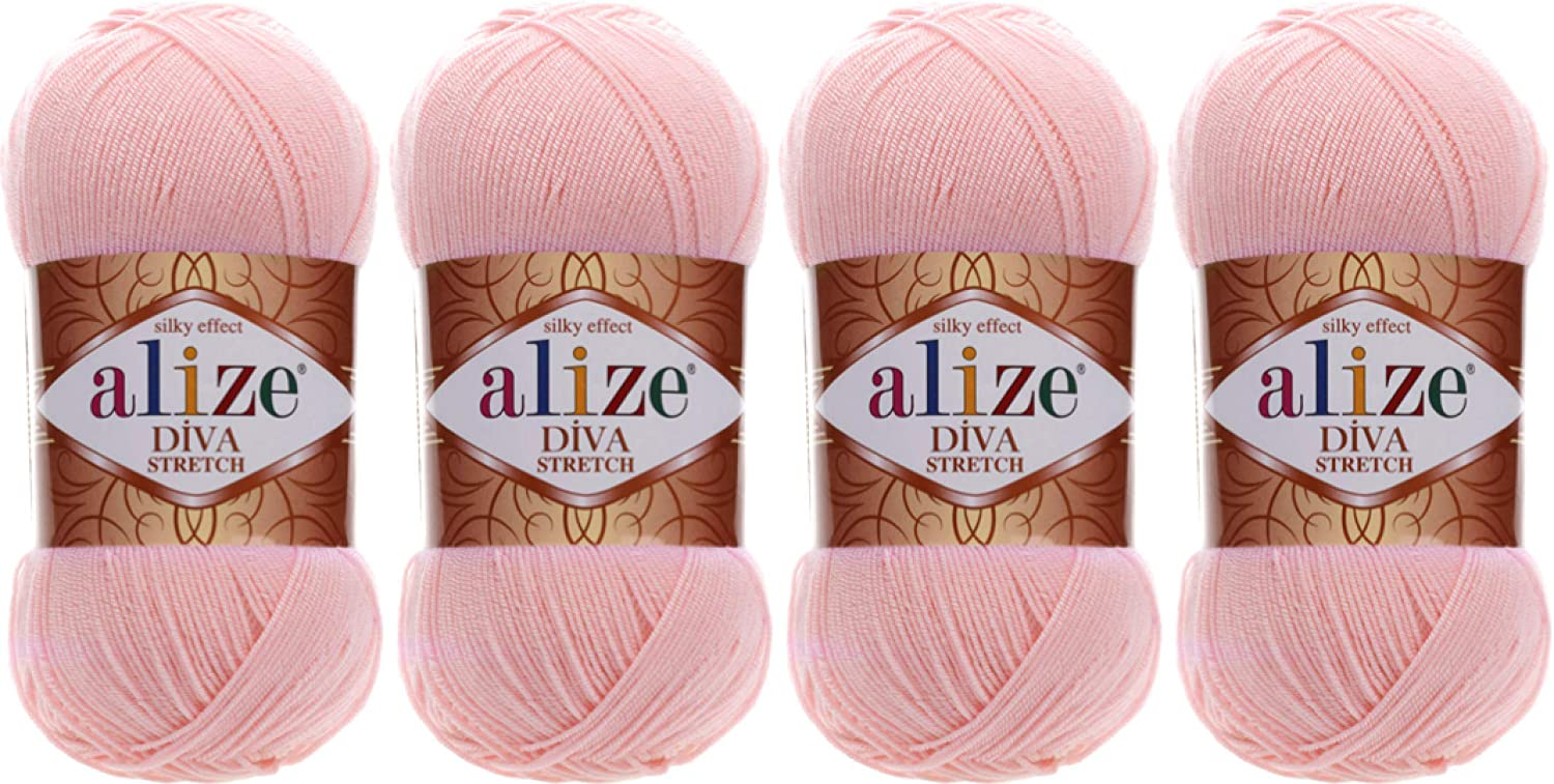 92% Microfiber Acrylic, 8% Pbt Elastic Stretch Yarn Alize Diva Stretch Thread Crochet Hand Knitting Turkish Yarn Lot of 4skn 400gr 1752yds (363-Bridal Pink)