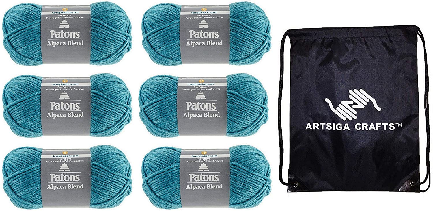 Patons Knitting Yarn Alpaca Natural Blends Aquamarine 6-Skein Factory Pack (Same Dye Lot) 241101-01015 Bundle with 1 Artsiga Crafts Project Bag