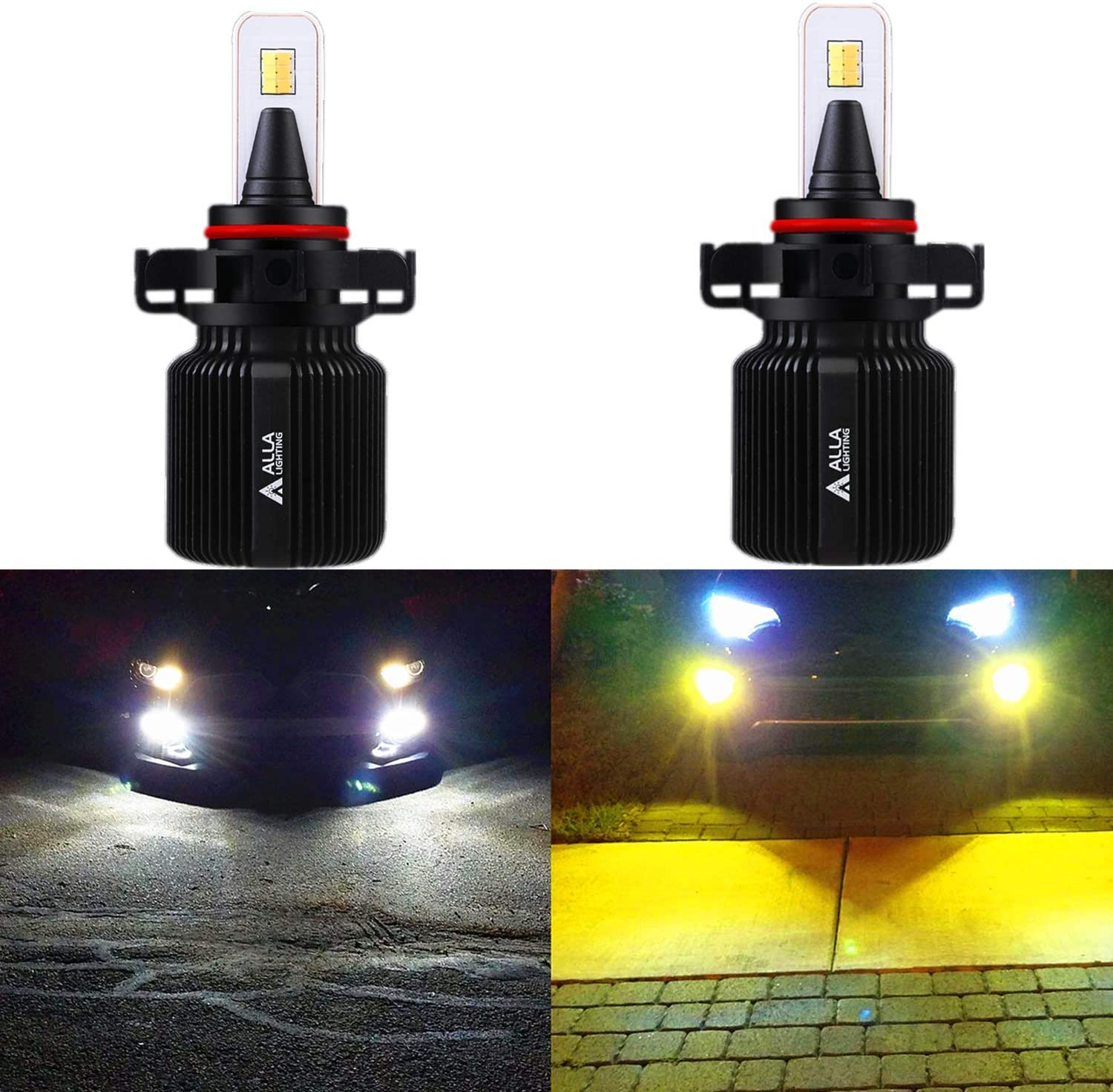 ALLA Lighting 8000Lm 2504 PSX24W LED Bulbs Dual Color Switchback Fog Lights 6000K White / 3000K Amber Yellow PSX24W 2504 LED Fog Lights Bulbs Lamp Replacement for Cars, Trucks (Set of 2)