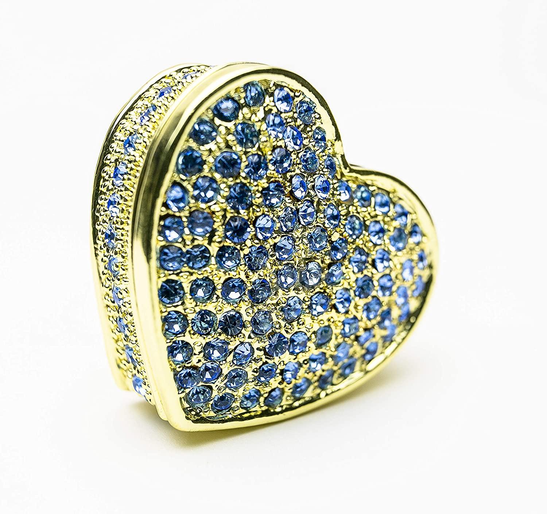 Keren Kopal Blue Heart Trinket Box Valentine Jewelry Storage Case Handpainted Figure Gift Idea for Wife, Girl-Friend, Mother