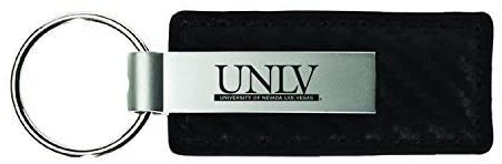 University of Nevada Las Vegas-Carbon Fiber Leather and Metal Key Tag-Black