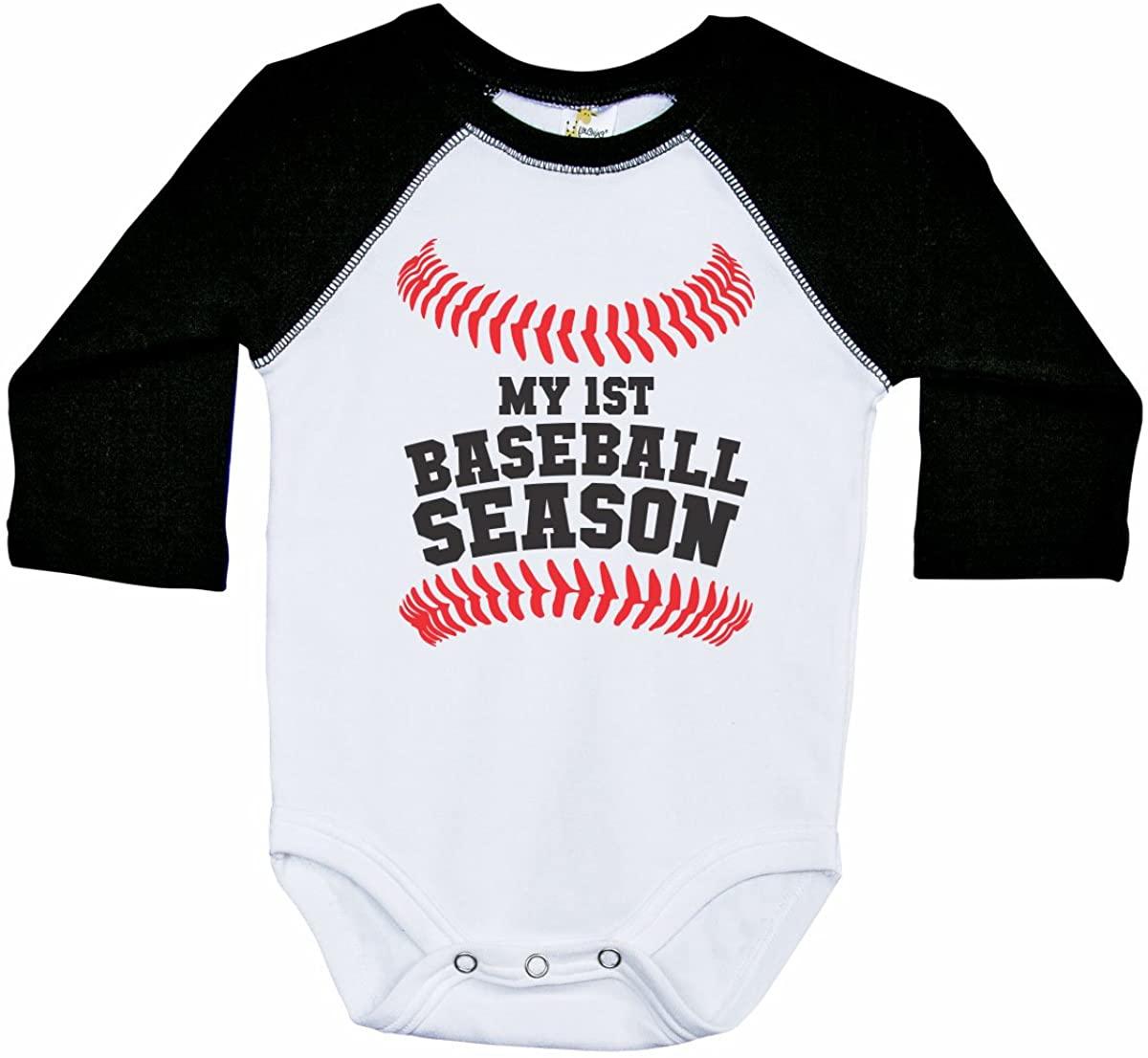 Baseball Long Sleeve Raglan Baby Onesie/My First Baseball Season/Unisex