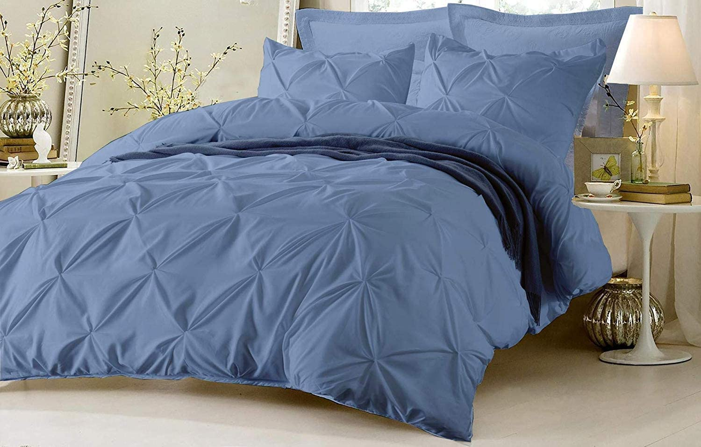 Deepraj Bedding Pinch Comforter Set & Four Pillowshams 100% Cotton 600 Thread Count Tuffed Pattern Pintuck Decorative Comforter for Living Room & Best for Gift.!(Twin/Twin XL,Medium Blue (5 Piece)