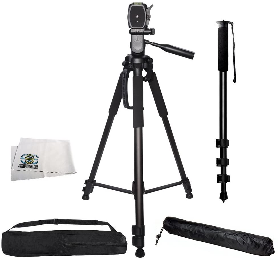 Professional 72-inch Tripod 3-way Panhead Tilt Motion with Built In Bubble Level & 72