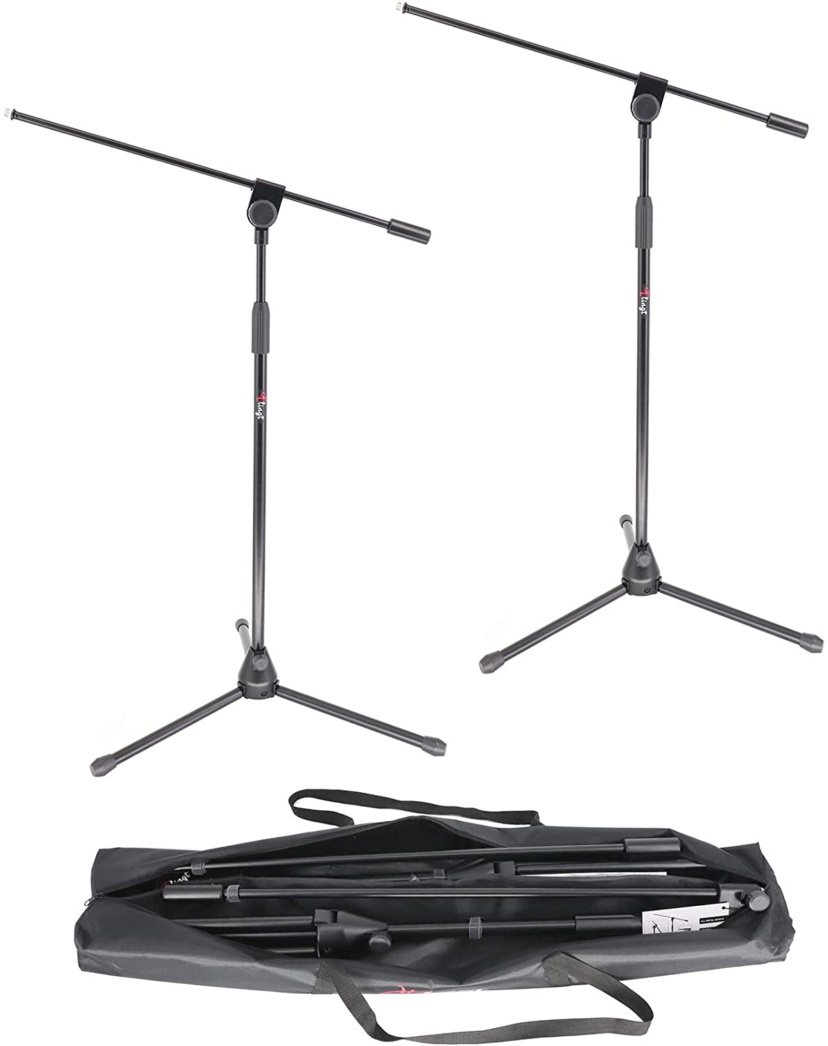 Tlingt Tripod Microphone Boom Stand, Professional Grade Mic Stand, 2-Pack with Portable Waterproof Carrying Bag.
