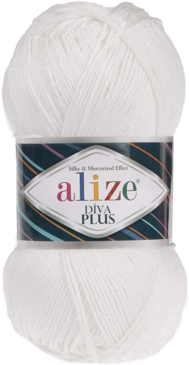 100% Microfiber Acrylic Alize Diva Plus Silk and Mercerized Effect Knitting 3 DK & Light Worsted Crochet Yarn Lot of 4 Ball skeins 400gr 962 yds Color (1055 - White)