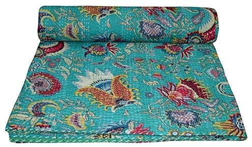 Yuvancrafts Indian Handmade Mukut Print Kantha Quilt Pure Cotton Traditional Print Queen Quilt Throw Blanket Bedspreads
