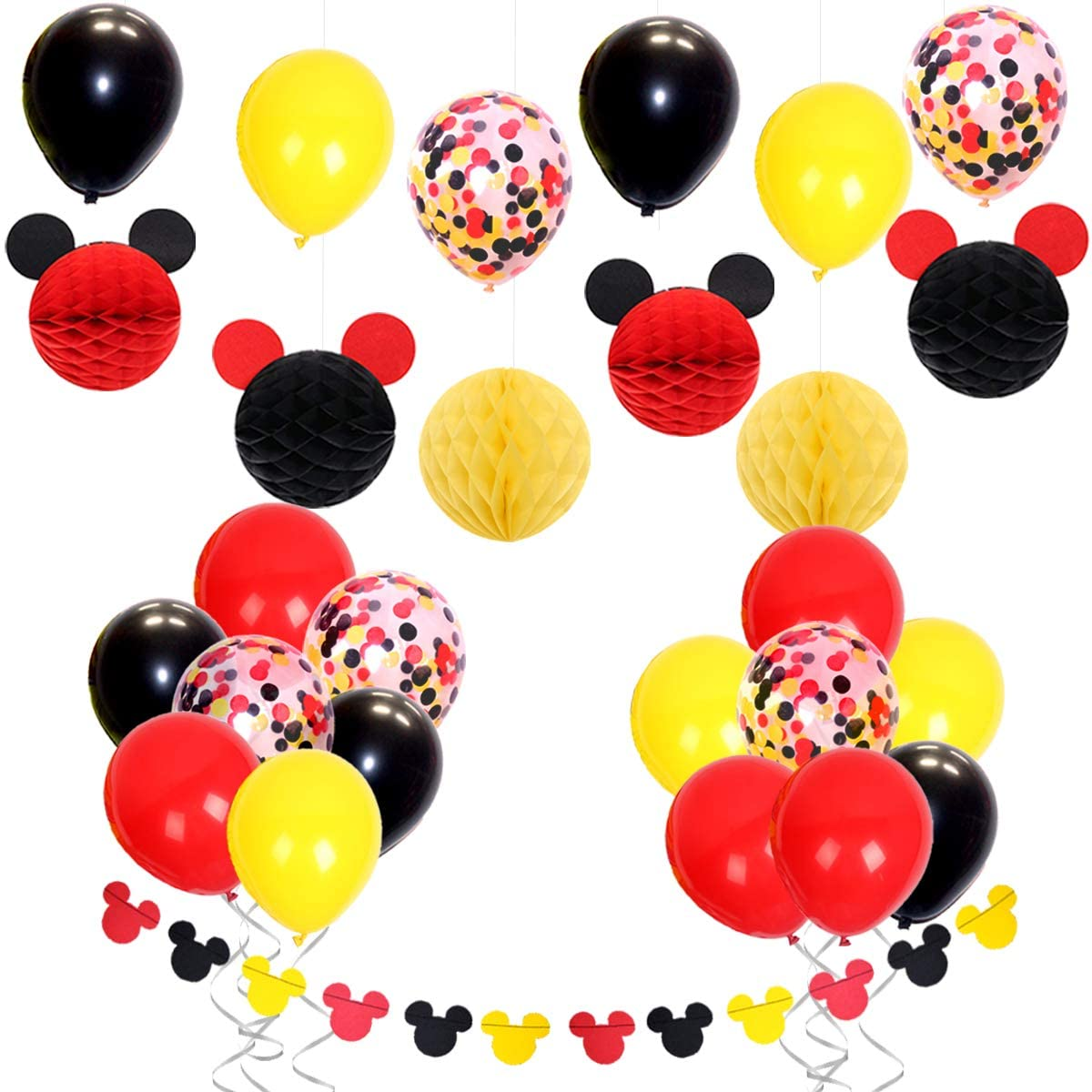 JOYMEMO Mickey Themed Party Decorations Set for Baby Shower, Birthday Party with Balloons Mickey Ears Paper Honeycomb Balls and Garland