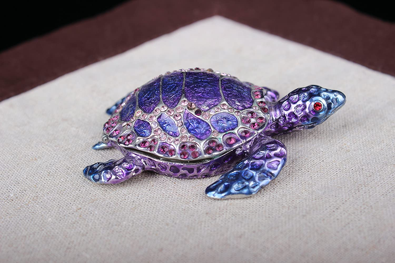 znewlook Turtle Trinket Box Jewelry Box with Inlaid Crystal Figurine (Blue, 11.573.5 cm (LWH))
