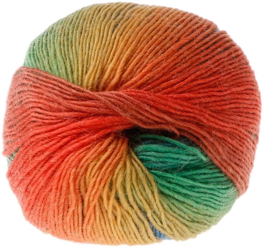 Mcsibobce 50g/Ball Hand-Woven Rainbow Colorful Crochet/Cashmere Wool Blend Yarn Knitting DIY Supplies