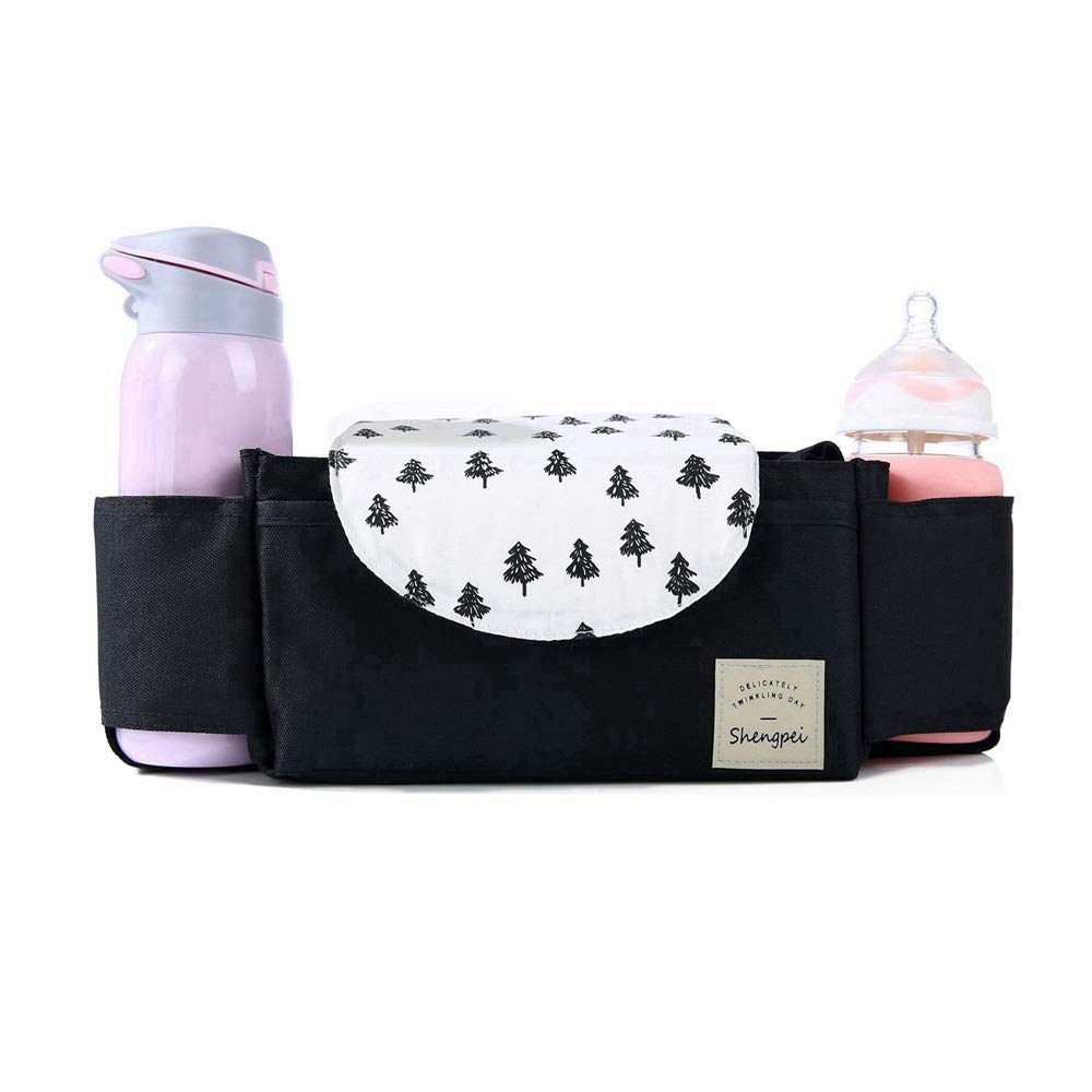 Universal Baby Stroller Organizer Bag - Parents Diaper Organizer Accessorywith Milk Bottle Holders and Zippered Clutch Bag,Fit for All Baby Stroller