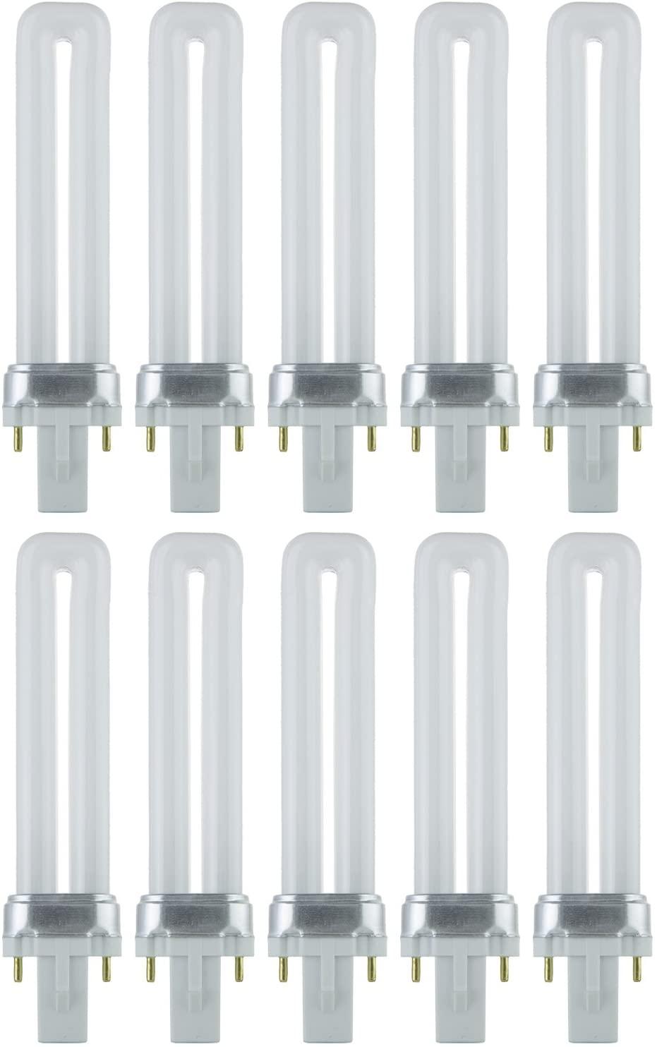 Sunlite PL7/SP35K 10PK 2-Pin Fluorescent 7W 3500K Neutral White U Shaped PL CFL Twin Tube Plugin Light Bulbs with G23 Base (10 Pack)