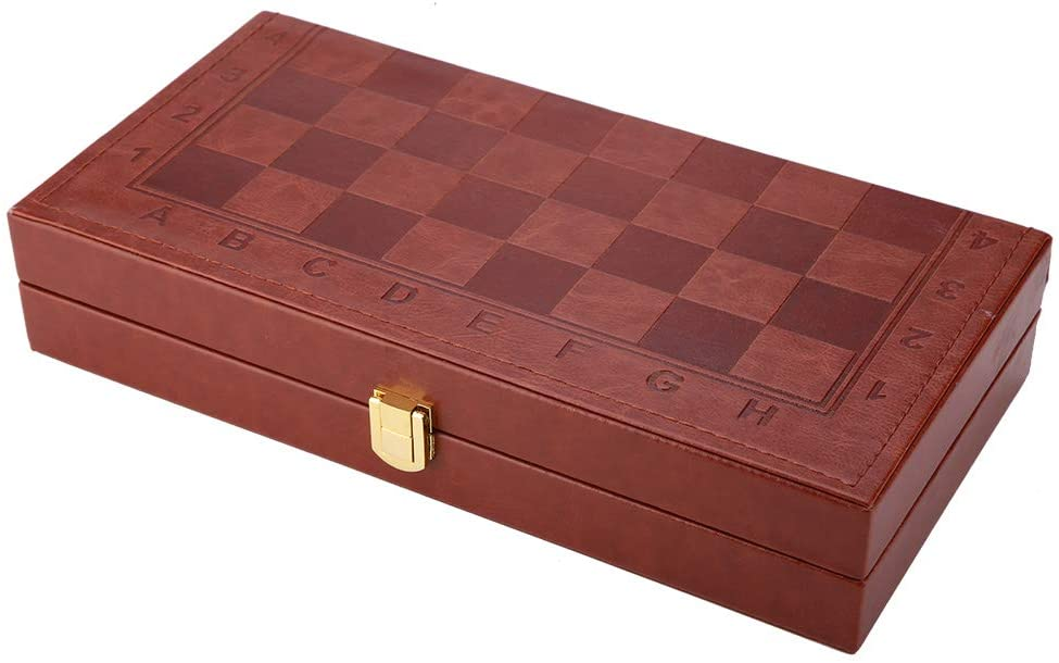 Yinuoday Wooden Chess Game Sets ,Chess Checkers Backgammon Three in One Travel Chess Set with Folding Chess Board for Kids and Adults