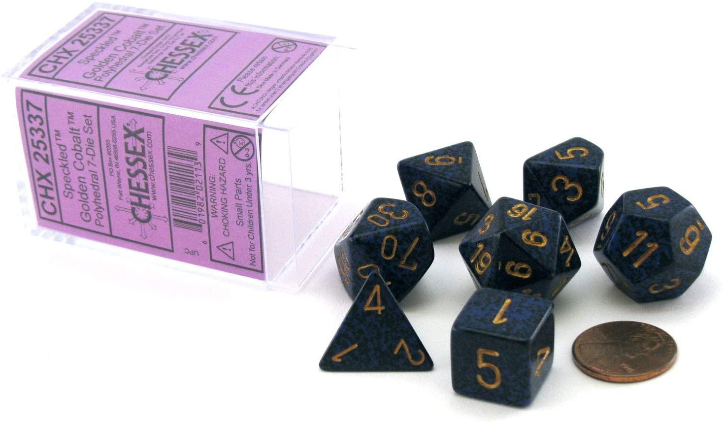Chessex Manufacturing Speckled Golden Cobalt Polyhedral 7 Dice Set