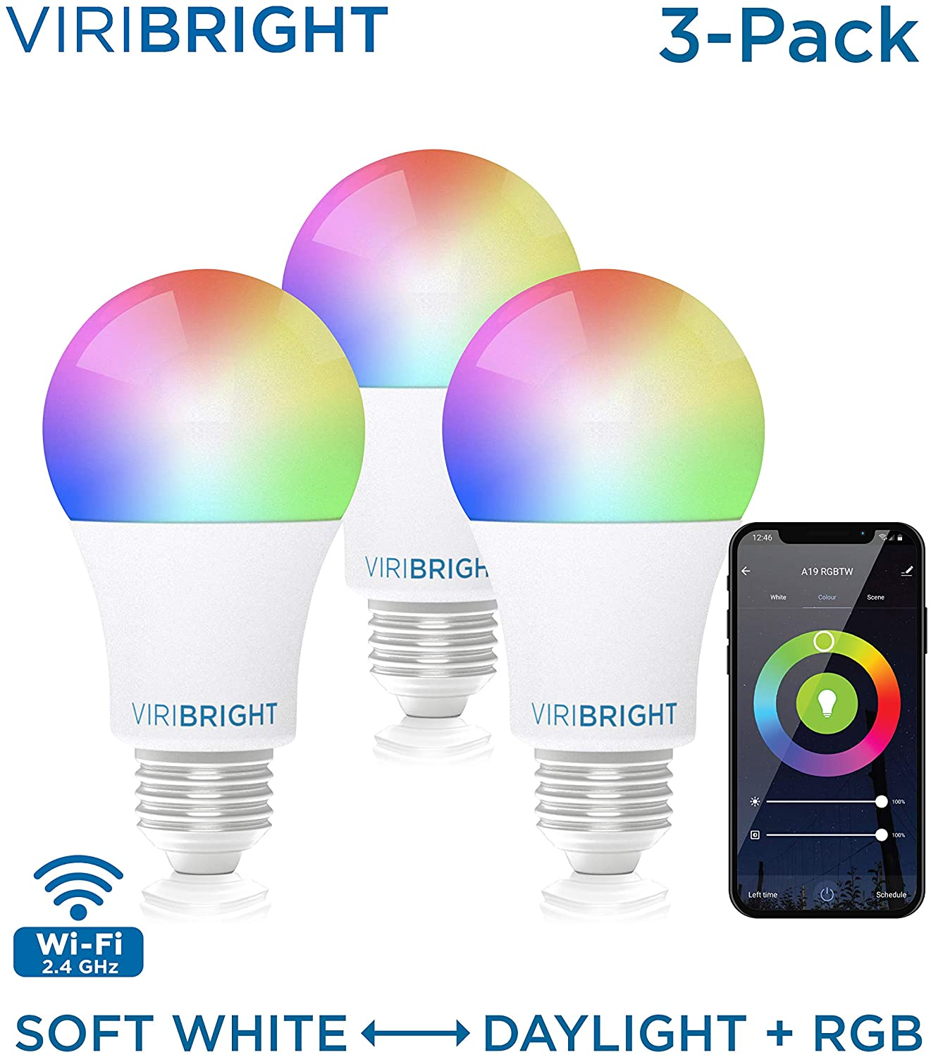 Viribright Smart LED Light Bulb E26, A19 RGBW WiFi Dimmable Multicolor LED Lights, 2700K to 5000K + RGBW, 60W Equivalent (9.5W Actual), No Hub Required, Easy Set up, 3 Pack