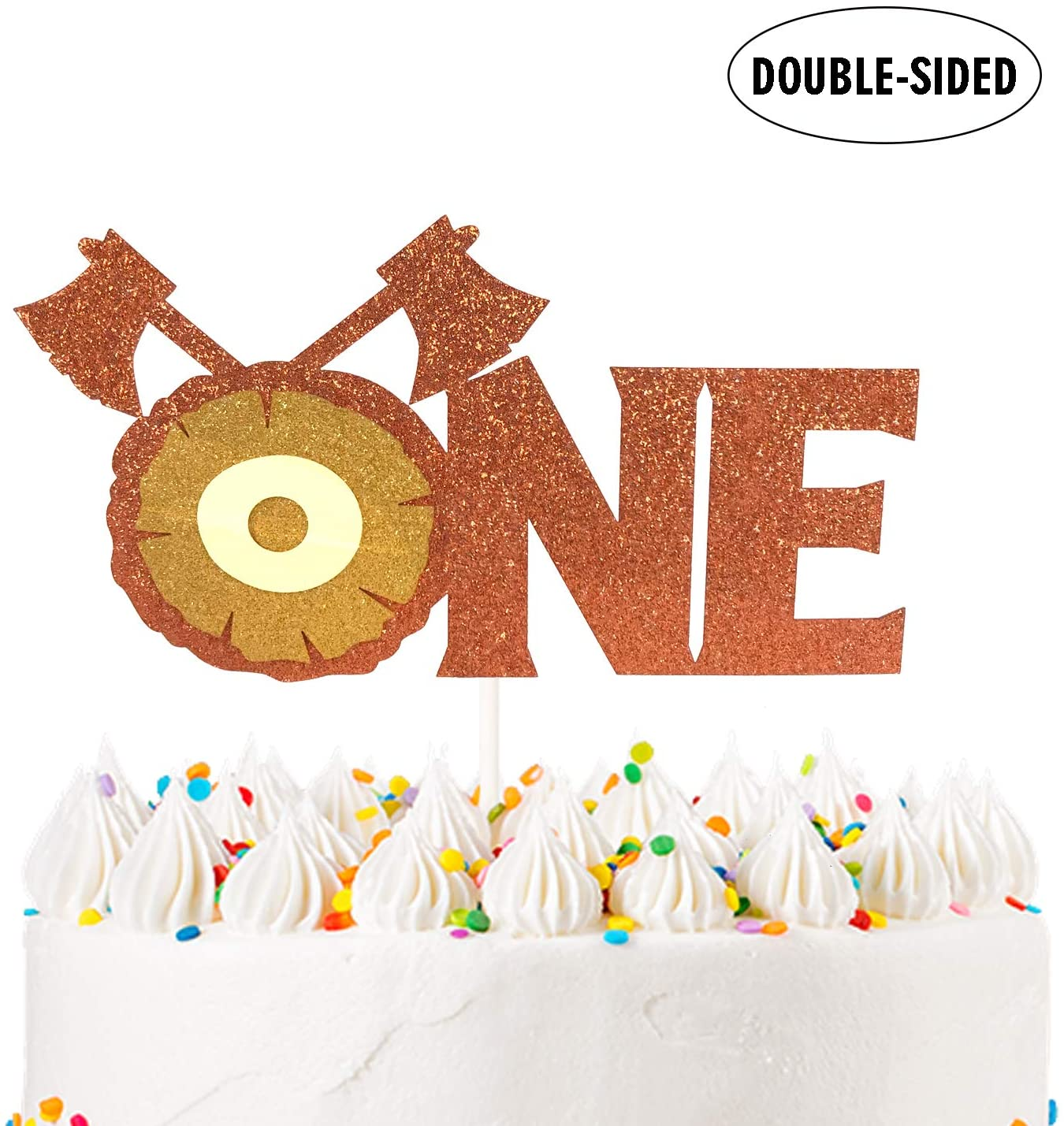 "Orange-Brown Lumberjack Theme Axe Stump ""ONE"" Cake Topper- Double Side Glitter – for 1st Birthday Anniversary Baby Shower One Month Party Decoration Supplier"