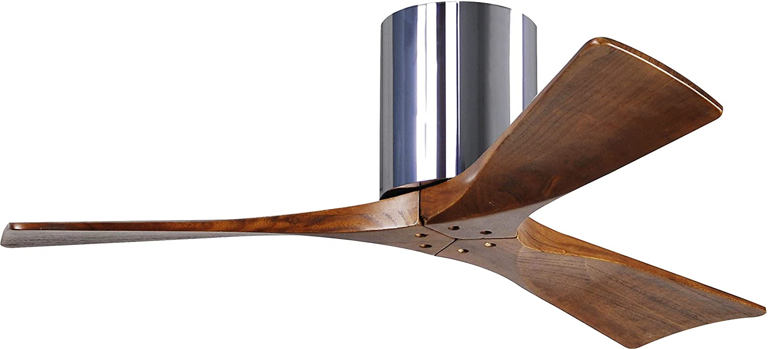 Matthews IR3H-CR-WA-42 Irene 42 Outdoor Hugger Ceiling Fan with Remote & Wall Control, 3 Wood Blades, Polished Chrome