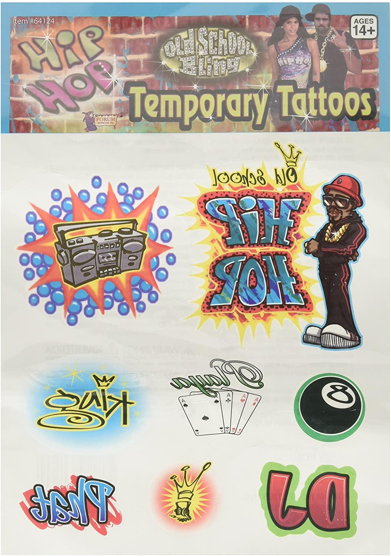 Hip Hop Tattoos - Guys (Pack of 12)
