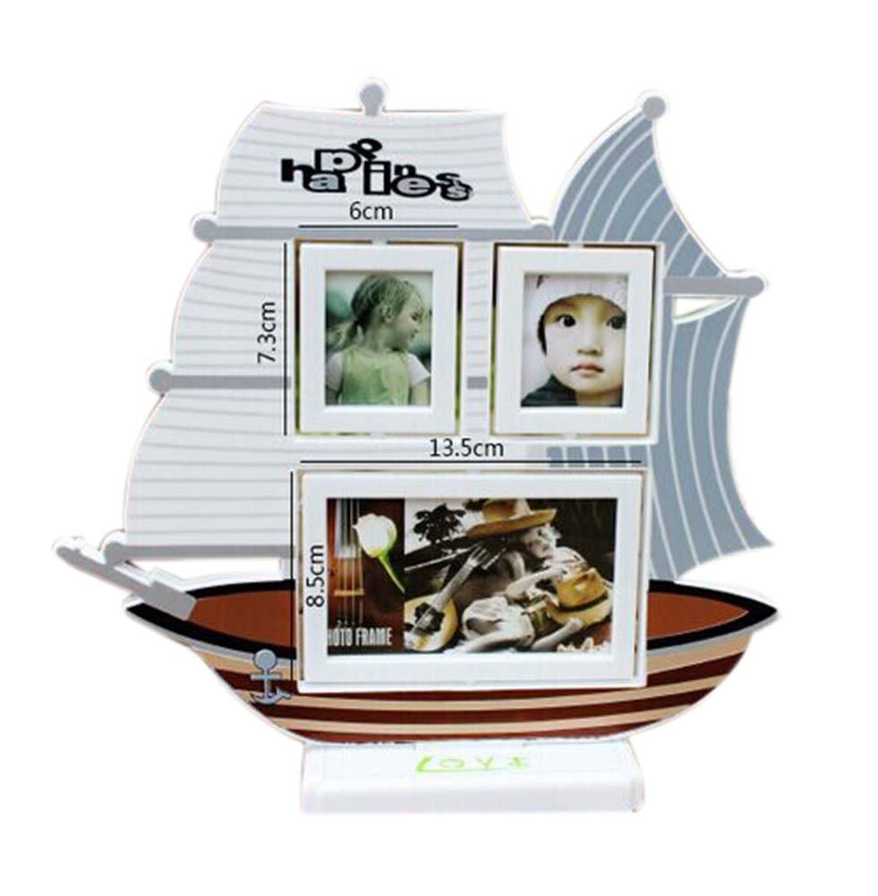 5 inch+3 inch Creative Cartoon Swing Sets Children's Photo Frame Sailboat Model