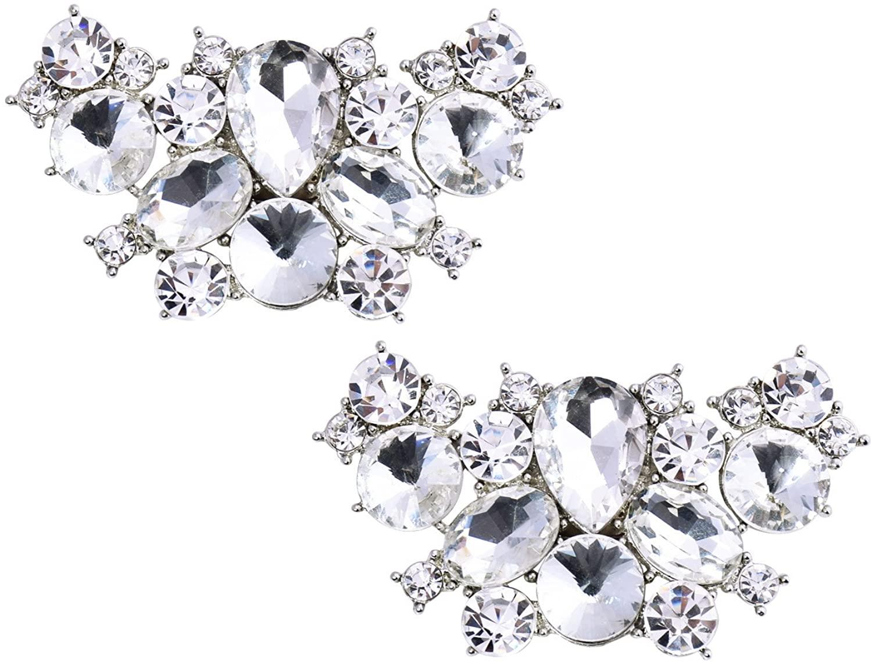 ElegantPark 2 Pcs Shoe Clips Butterfly Rhinestones Wedding Party Decoration