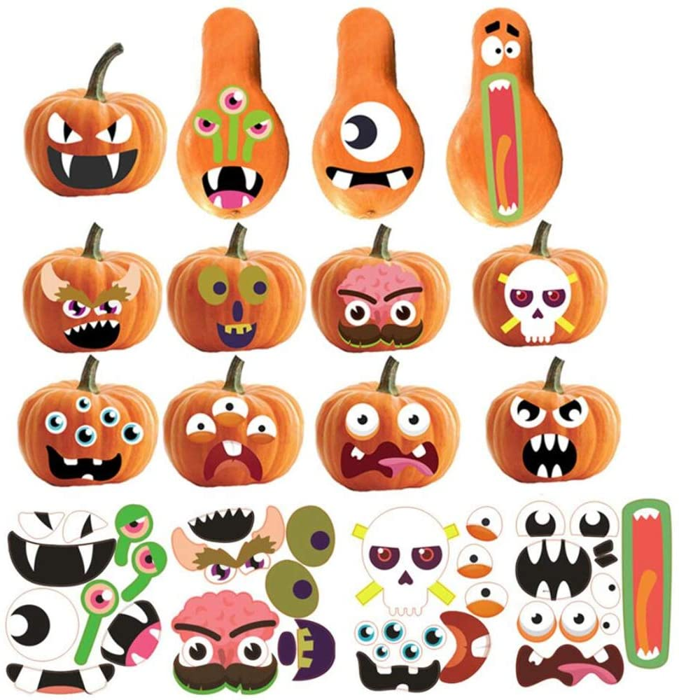 4 Sheets Halloween Pumpkin Stickers, 12 Funny and Classic Pumpkin Expressions Stickers for Pumpkins and Squashes, Halloween Pumpkin Decorations, Make a Pumpkin Face Stickers (Halloween)