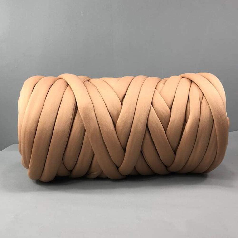 Braid Cotton Yarn Arm Knitting DIY Handmade Chunky Blanket Machine Washable (Khaki-4.4 LB)