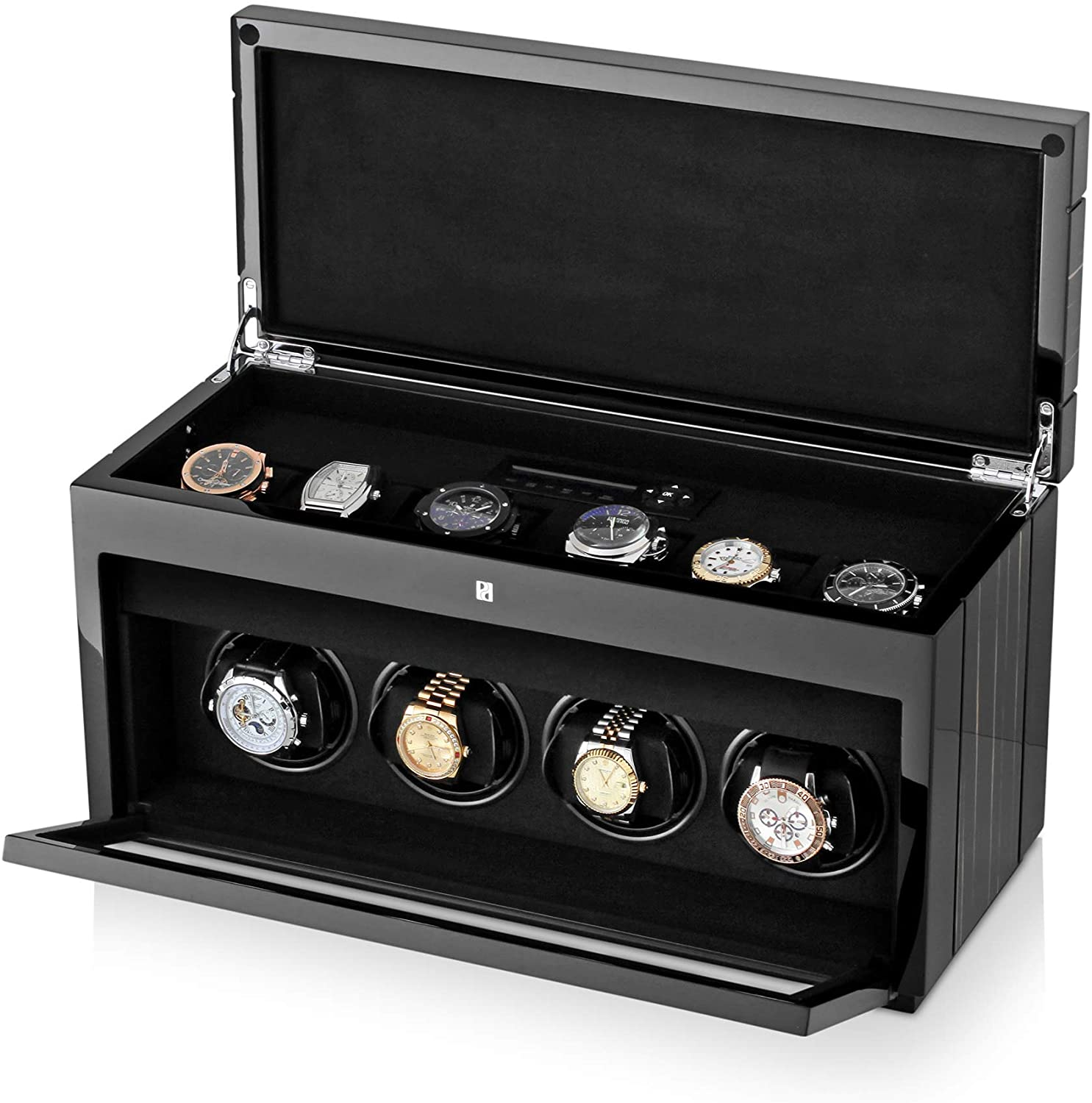 Watch Winder for 4 Automatic Watches with 6 Storage Slots, LED Backlight and LCD Display