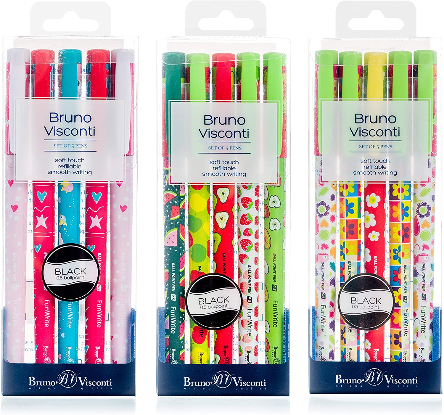 FunWrite Collection Ballpoint Pen Series, 15 Pens, Assorted Designs