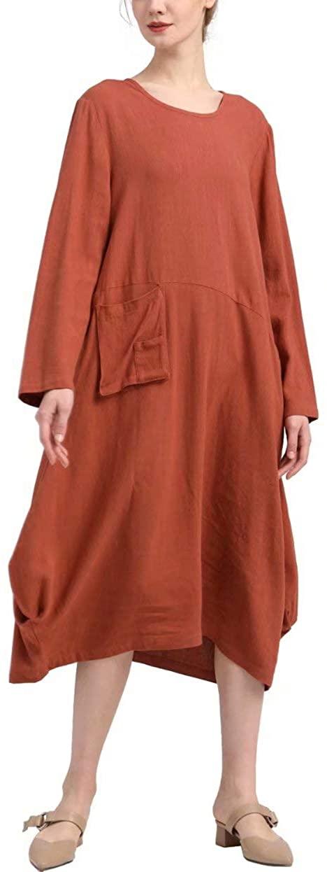 MEOMUA Women's Linen Dresses Long Sleeve Casual Loose Cotton Dress