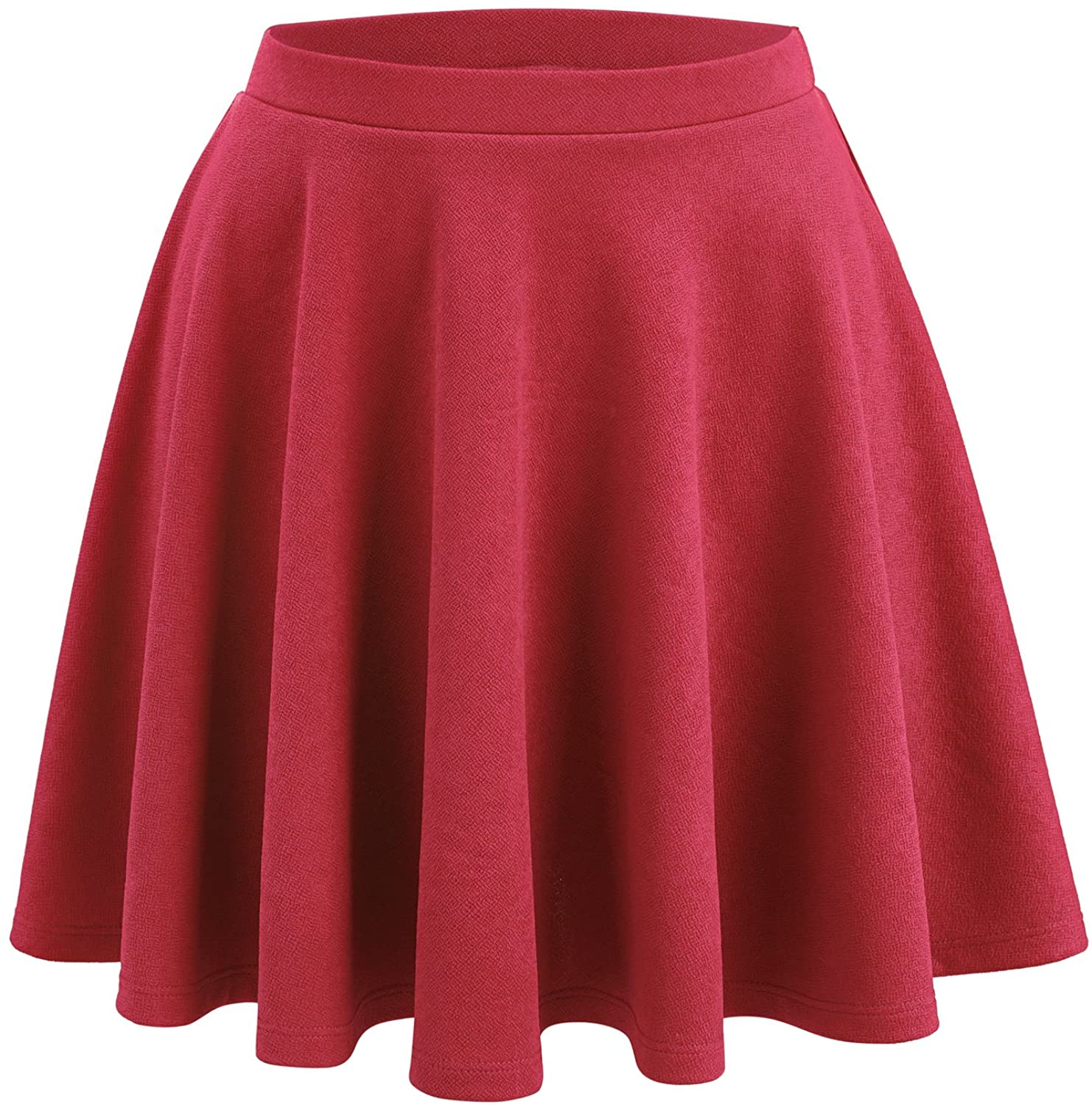 WB1580 Womens Verstaile Stretchy Flared Casual Skater Skirt - Made in USA XL Coral
