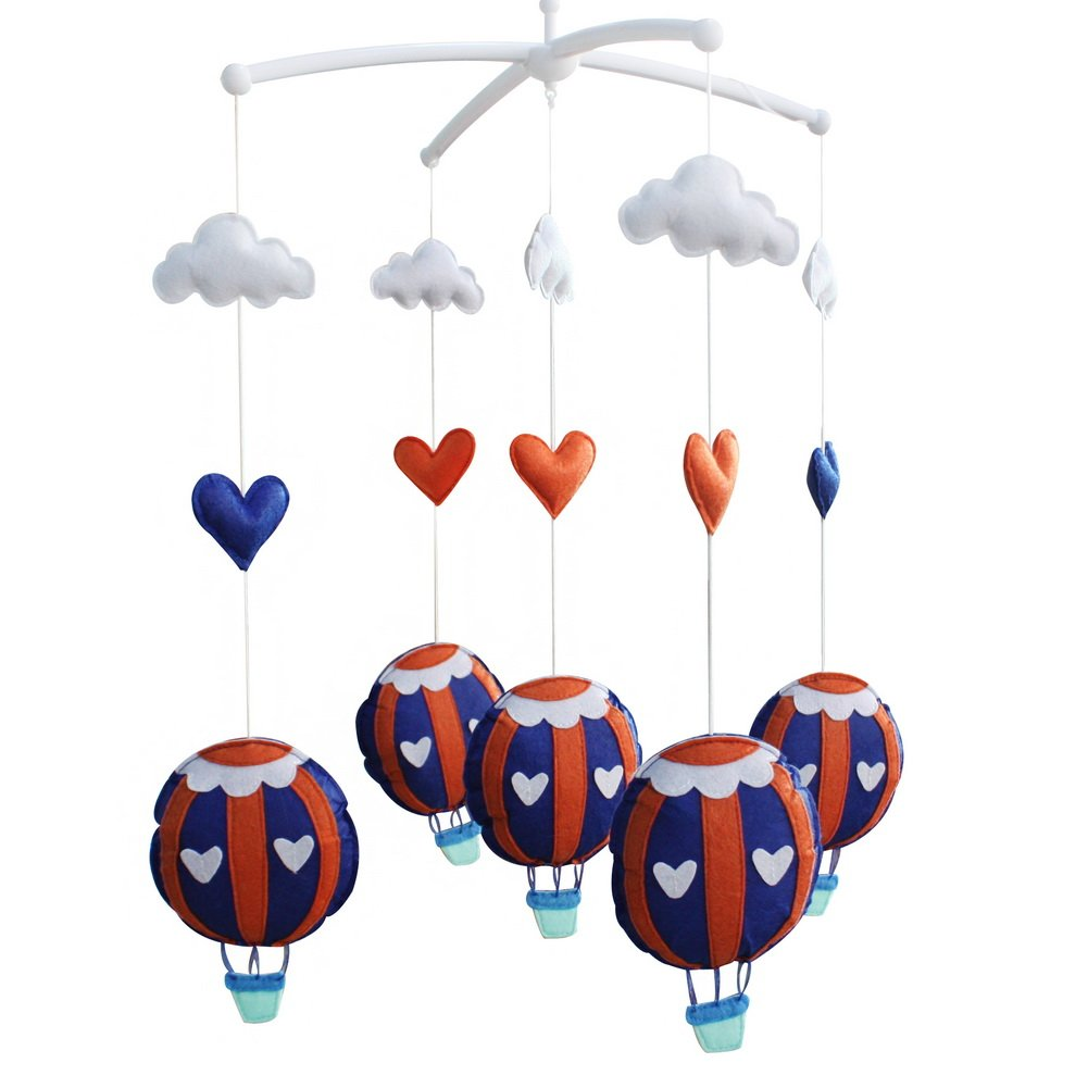 Infant Crib Musical Mobile, [Hot Air Balloon] Baby Music Mobile, Crib Decor