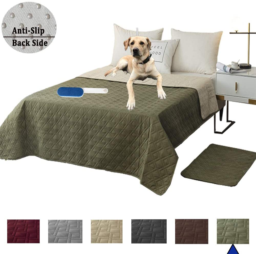 RBSC Home Waterproof Blanket Dog Bed Cover Non Slip Large Sofa Cover Reusable Incontinence Bed Underpads for Pets, Dog, Cat, Kids Including 1 Brush