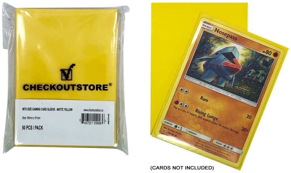 CheckOutStore (50) Protective Sleeves for Trading Cards (66 x 91 mm) (Matte Yellow)