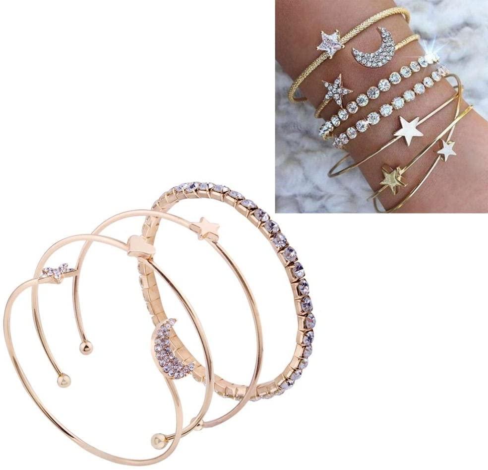 Hemlock 5 PCs Bangle Bracelet, Women 925 Sterling Silver Bracelet Bohemia Jewelry (4 pcs Gold-1)