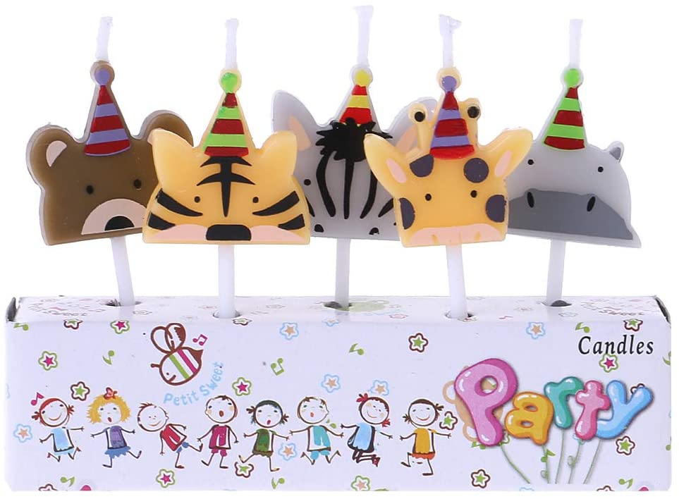 minansostey 5Pcs/Set Cute Candle Zoo Party Shape Carnival Animal Birthday Candles