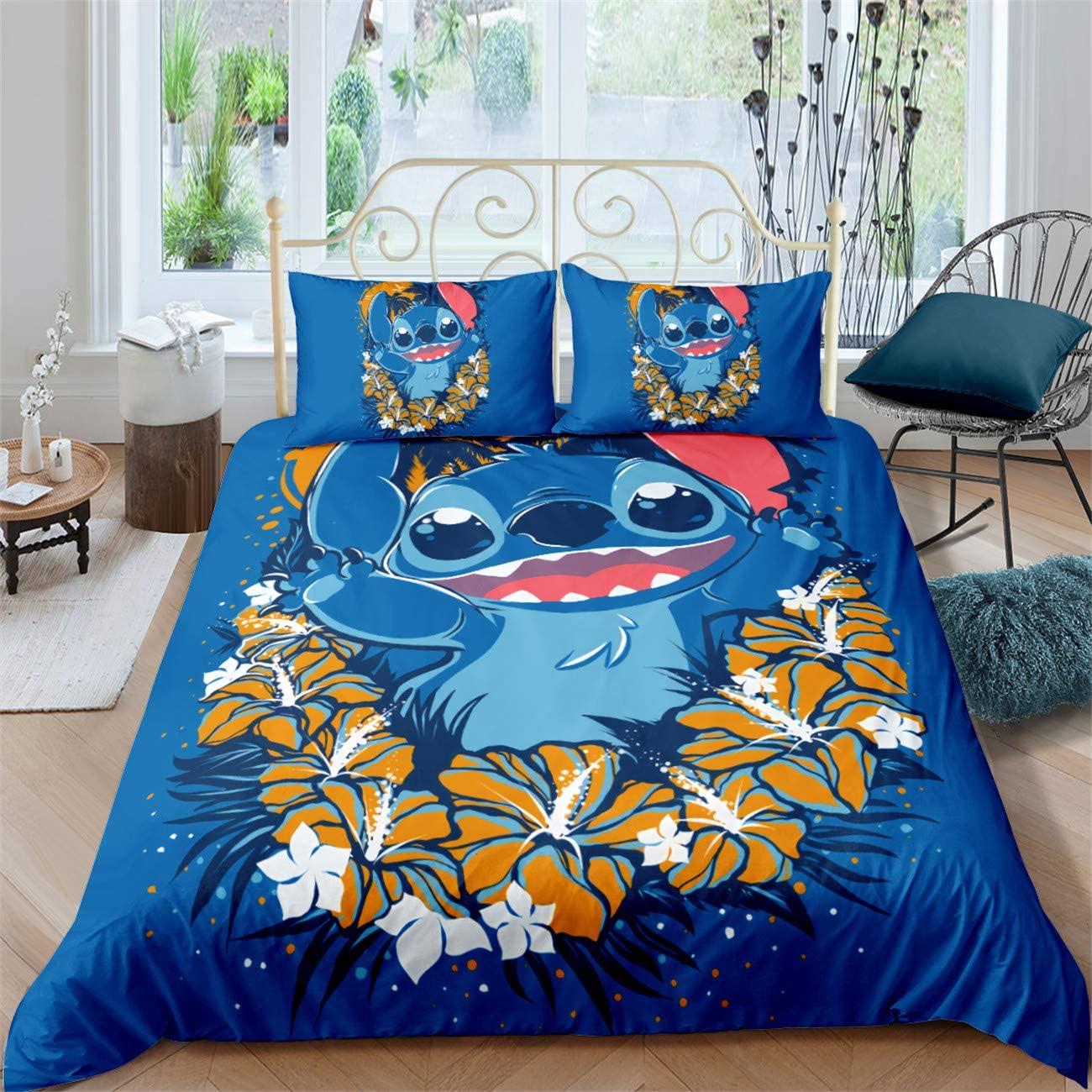 AXIONG 3D Lilo & Stitch Duvet Cover Set Bedding Set for Kids 100% Microfiber Duvet Cover Set Suitable for Kids Teen Adult 3 Piece 1Duvet Cover 2 Pillow Set Twin Full Queen King Size