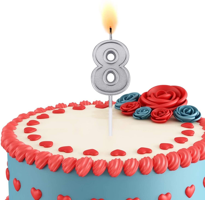 ESEOE Birthday Candles, Birthday Candles Numbers for Birthday Cakes, Birthday Numbers Candles for Christmas/Birthday/Wedding/Reunion/Theme Party (Silver, 8)