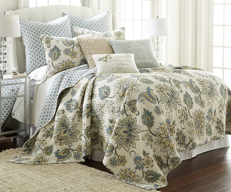 Levtex Palladium Grey King Cotton Quilt Set Cream, Grey, Green/Blue