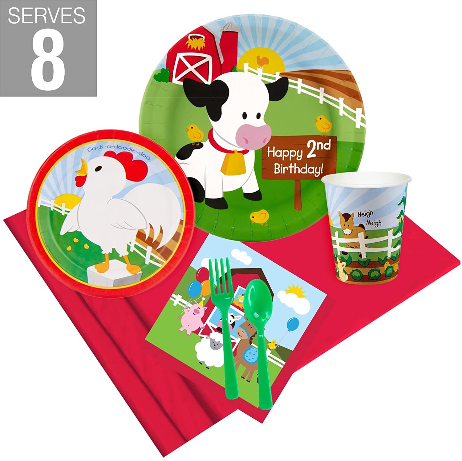 Barnyard 2nd Birthday Party Supplies Party Pack for 8