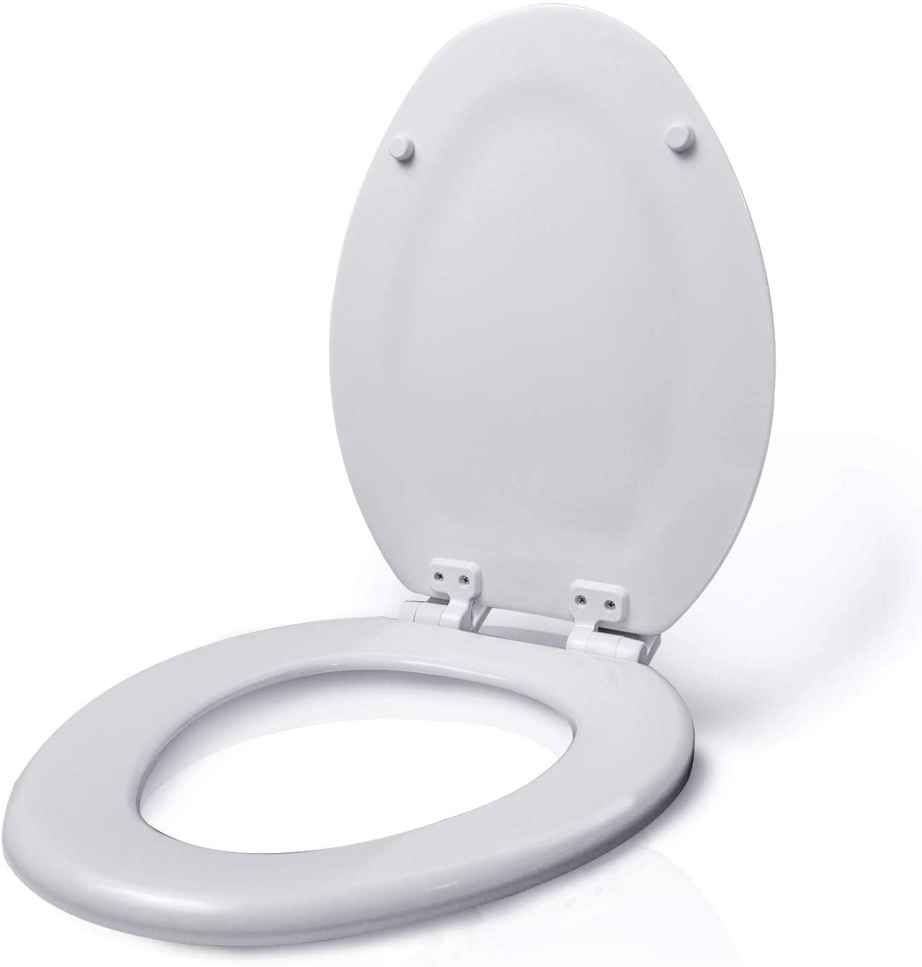 Highcraft W2TSWE Elongated Molded Wood Toilet Seat Easy Remove ∙ Adjustable Hinge, White