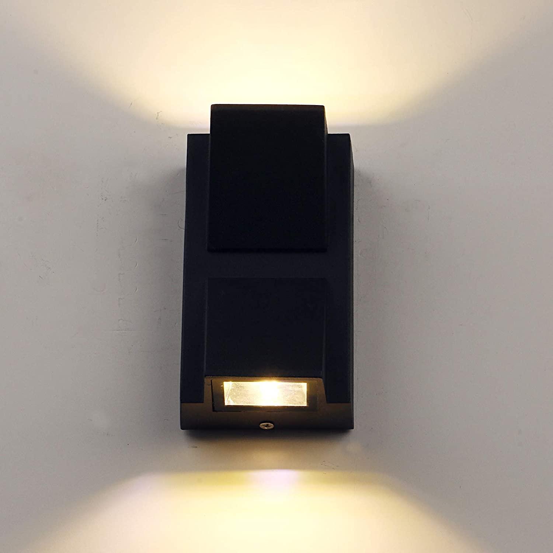 LED Waterproof Wall Light, Yosoan 6W 86V-265V Warm White 3000K IP65 Matte Aluminum Mondern Porch Lighting Black Mount Up and Down Modern Porch Garden Light Fixture Indoor Outdoor