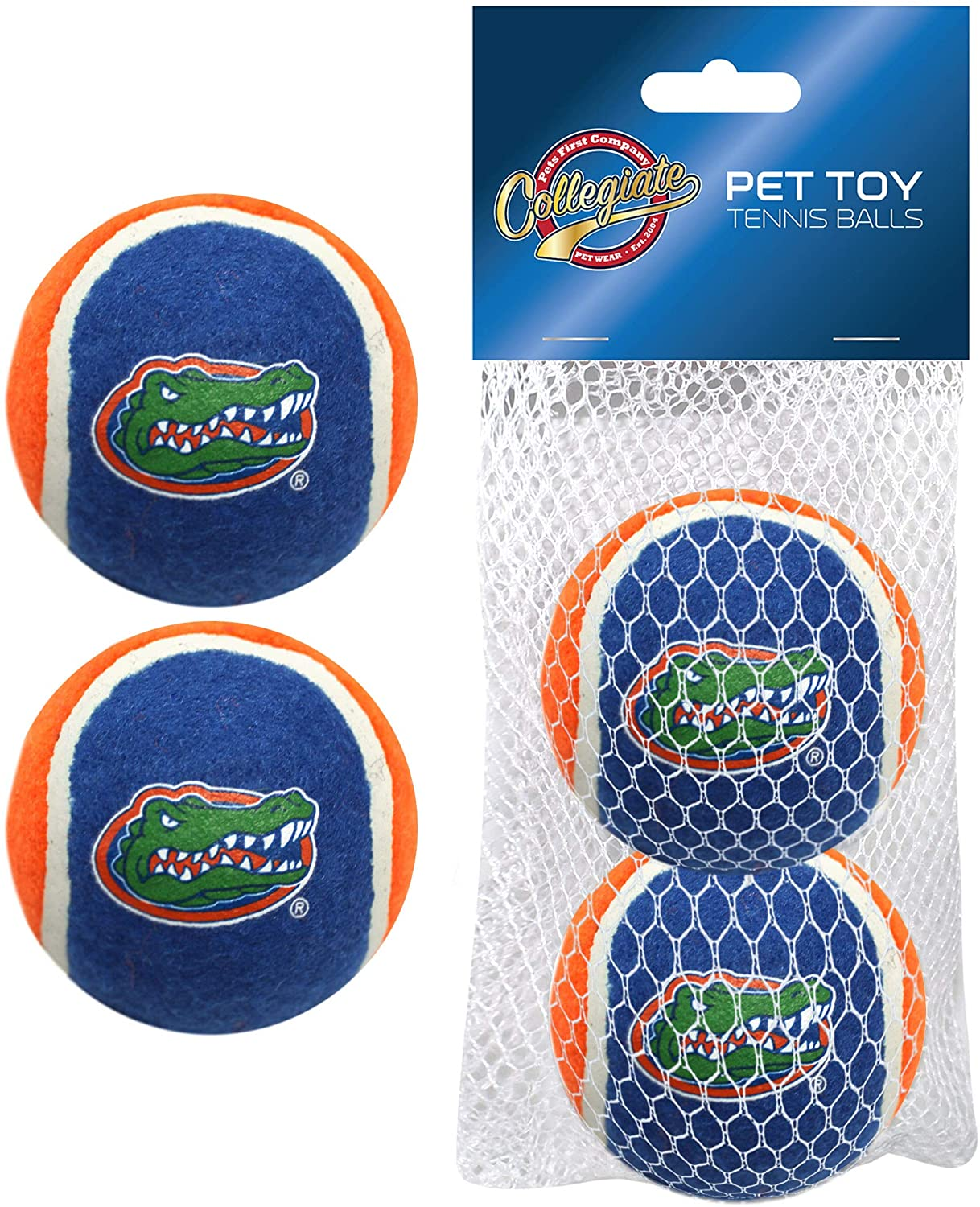Pets First NCAA Florida Gators Tennis Balls for Dogs & Cats - 2 Piece Set with Team Logo in Vibrant Team Color
