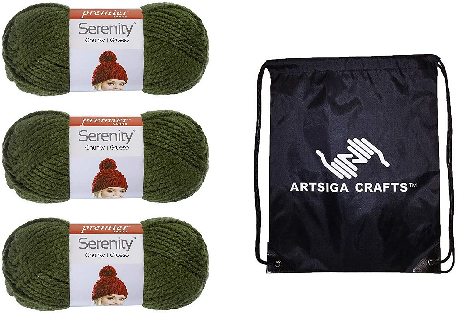 Premier Knitting Yarn Serenity Chunky Solid After Dark 3-Skein Factory Pack (Same Dye Lot) DN700-35 Bundle with 1 Artsiga Crafts Project Bag