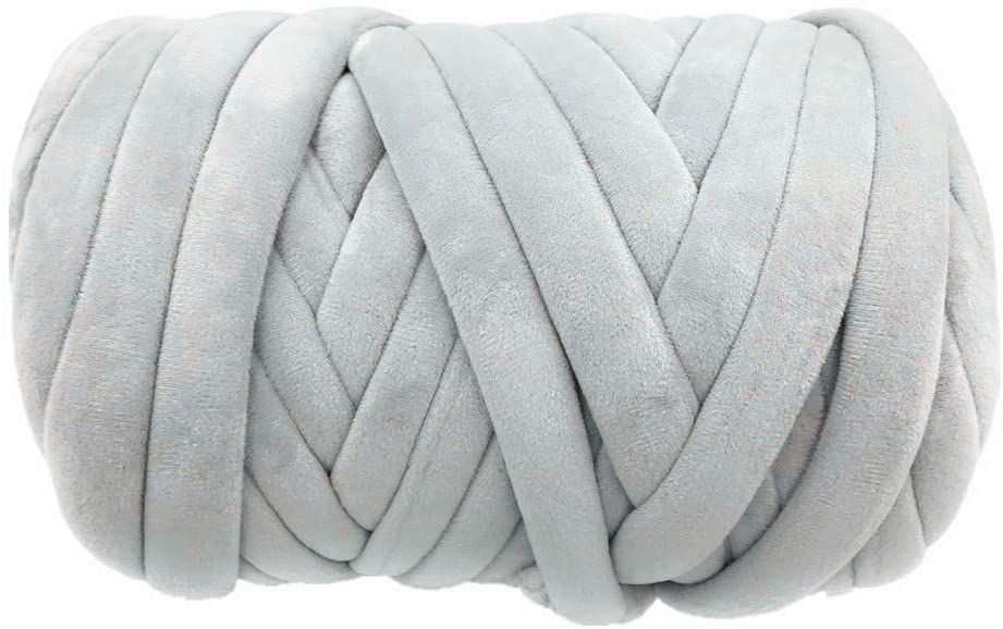 Super Vegan Velvet Chunky Yarn, Acrylic Bulky Thick Roving Washable Softee Jumbo Tubular Yarn for Arm Knitting Home décor Projects Blankets Rugs Making Garments (1 LBS / 21 Yards, Grey)