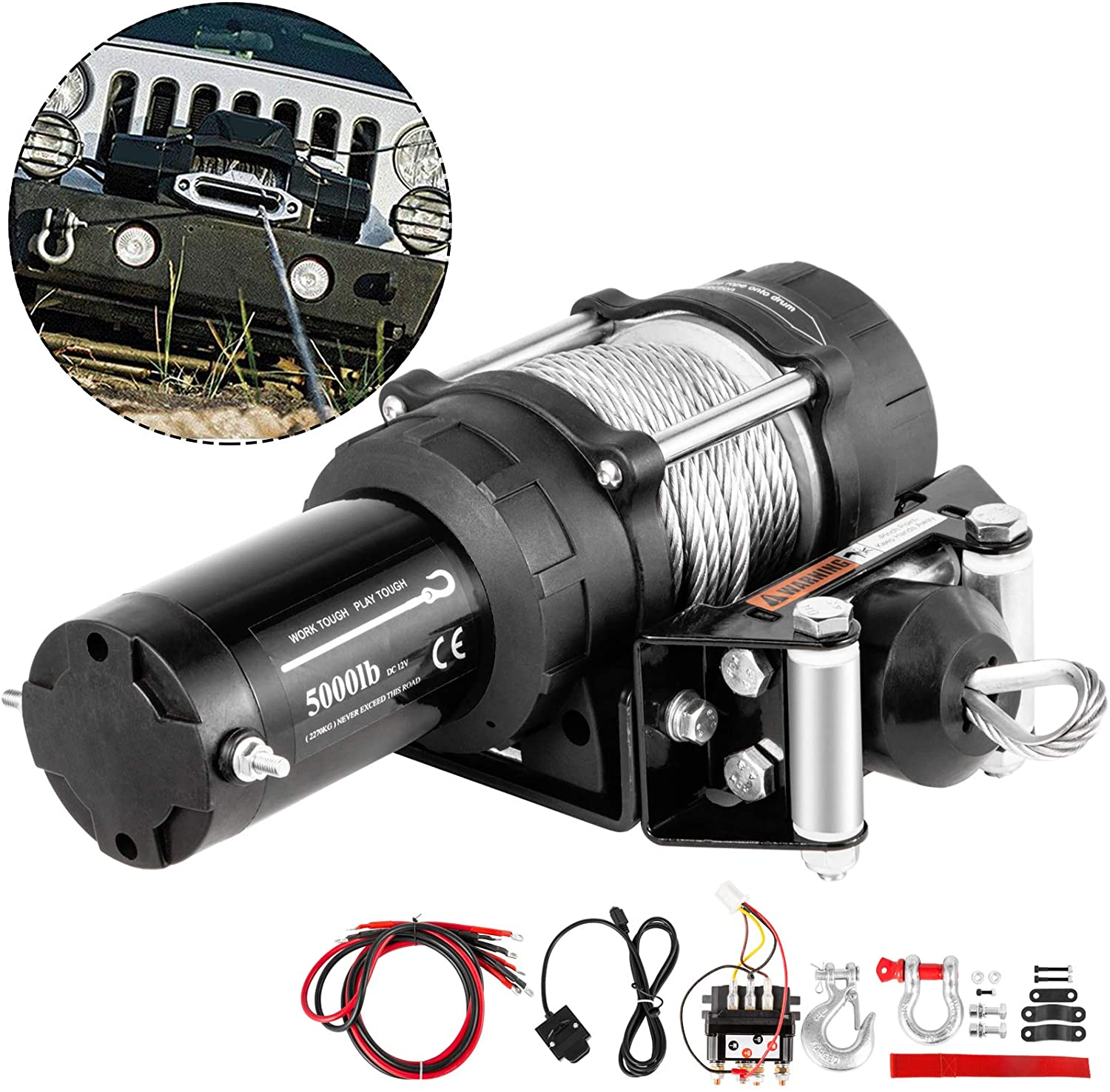 VEVOR Truck Winch 5,000LBS Electric Winch 13M Steel Cable 12V Power Winch Jeep Winch with Wireless Remote Control and Powerful Motor for UTV, ATV, Jeep, Truck and Wrangler Accessories in Car Lift