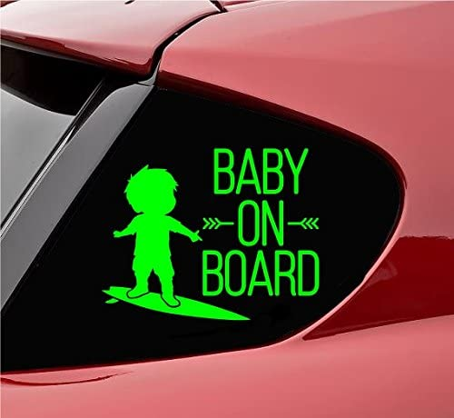 Slap-Art Baby on Board with Baby on surf Board Vinyl Decal Sticker (Lime Green)