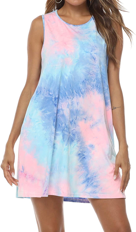VILOVE Women's Tie Dye Sleeveless O Neck Pockets T-Shirt Casual Loose Swing Tank Top Dress